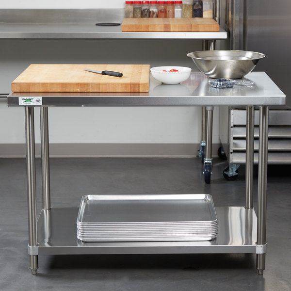 commercial kitchen work bench gridmann stainless steel prep table with backsplash 48 x 24 inches regency all gauge