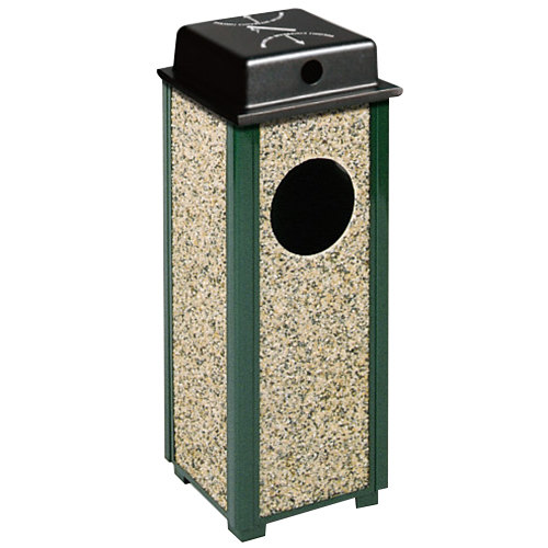 Rubbermaid R41WU Aspen Ash/Trash Empire Green with Desert Brown Stone Panels Square Steel Waste Receptacle with Weather Shield and Rigid Plastic Liner 2.5 Gallon(FGR41WU202PL)