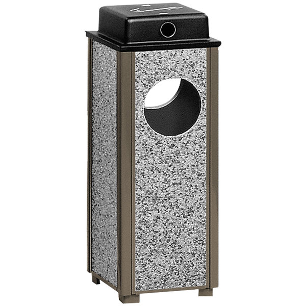 Rubbermaid R41WU Aspen Ash/Trash Architectural Bronze with Glacier Gray Stone Panels Square Steel Waste Receptacle with Weather Shield and Rigid Plastic Liner 2.5 Gallon (FGR41WU6000PL)