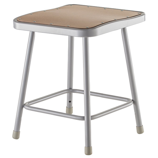 "National Public Seating 6318 18"" Gray Hardboard Square Lab Stool"