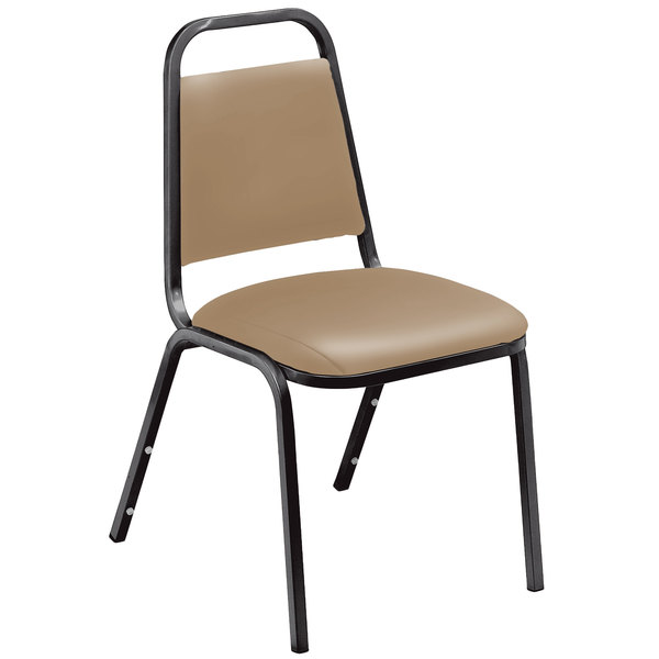 "National Public Seating 9101-B Standard Style Stack Chair with 1 1/2"" Padded Seat, Black Metal Frame, and French Beige Vinyl Upholstery"