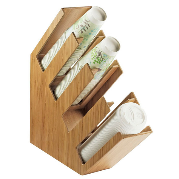 "Cal-Mil 2048-4-60 Bamboo Slanted 4 Section Cup and Lid Holder - 4 1/2"" x 19 1/2"" x 19 1/4"""