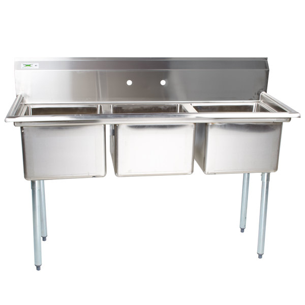 """Stainless Steel Kitchen Sinks With Drainboards 54"""" 16-gauge stainless steel three compartment commercial sink"""