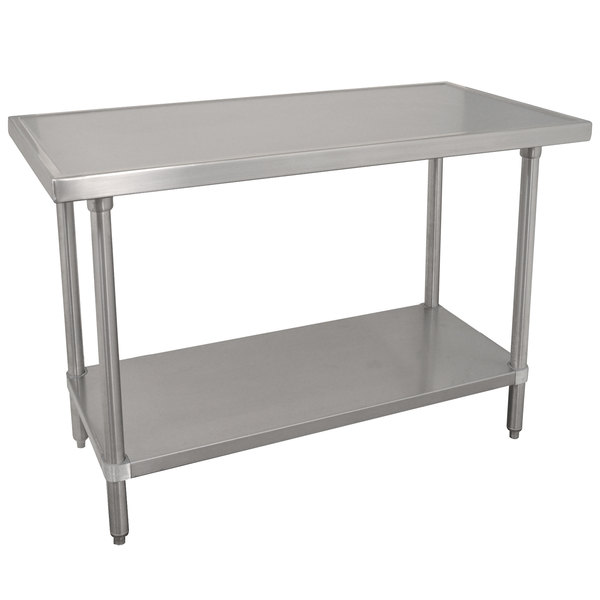 "Advance Tabco VLG-304 30"" x 48"" 14 Gauge Stainless Steel Work Table with Galvanized Undershelf"
