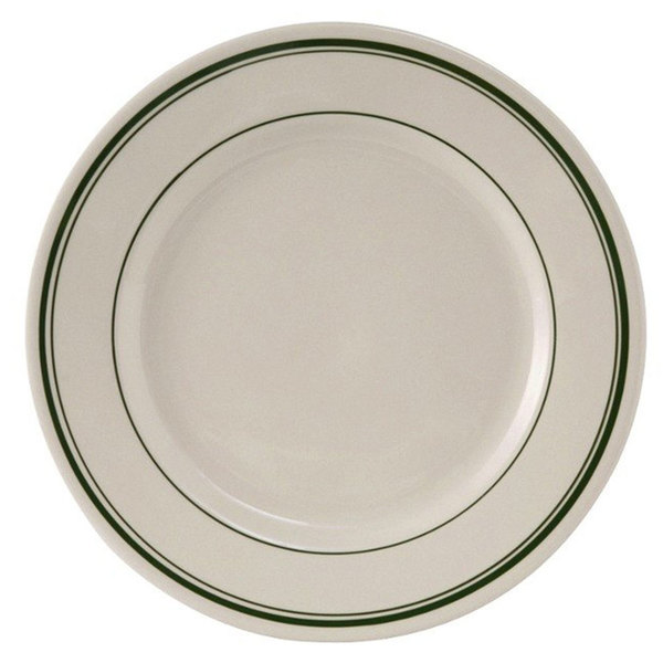 "Tuxton TGB-005 Green Bay 5 1/2"" Wide Rim Rolled Edge China Plate - 36/Case"