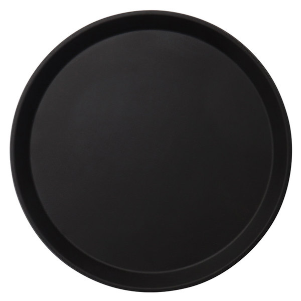 "Cambro 1100CT110 Camtread 11"" Round Black Non-Skid Serving Tray - 12/Case"