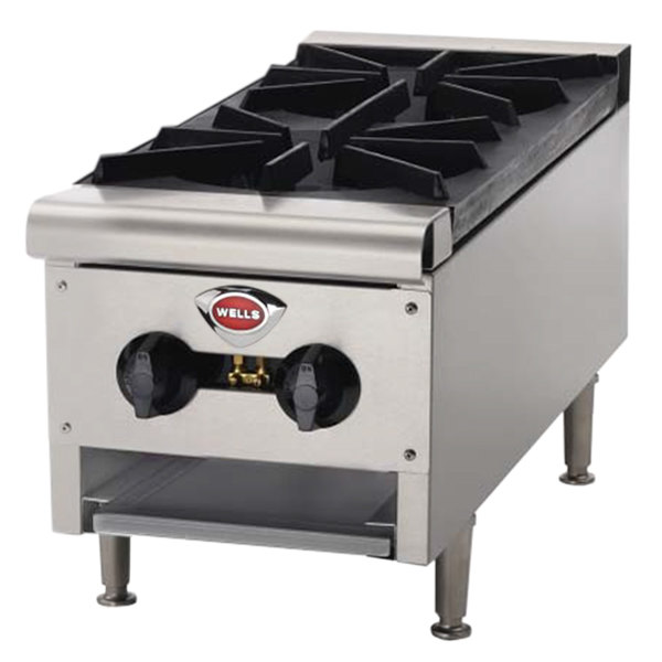 "Wells HDHP-1230G Heavy Duty 12"" Two Burner Gas Countertop Hot Plate - 43,000 BTU"