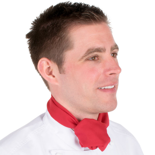 "Chef Revival H500RD 38"" x 28"" Red Poly-Cotton Chef Neckerchief / Bandana"