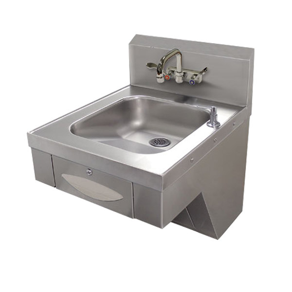 "Advance Tabco 7-PS-46 Hand Sink with Splash Mount Faucet and Wrist Handles - 20"" x 24"""