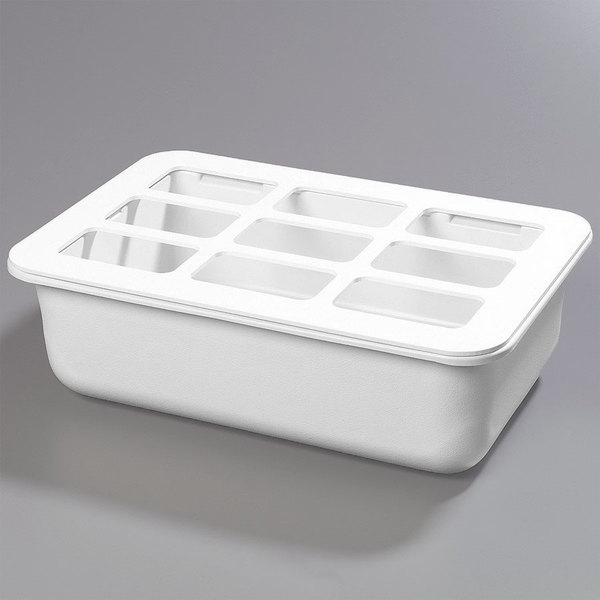"Carlisle CM104902 Coldmaster Full Size White Cold Food Pan Holder with Organizer - 6"" Deep"