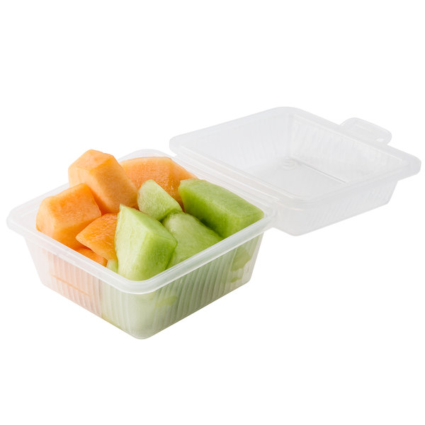 "GET EC-08 4 3/4"" x 4 3/4"" x 3 1/4"" Clear Reusable Eco-Takeouts Container - 24/Case"