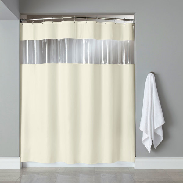 Hooked Hbg03vis0572 Beige 6 Gauge Vinyl Vision Shower Curtain With Vinyl Window And Chrome
