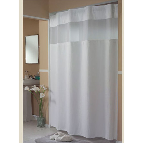 beige and white shower curtain. Video  Main Picture Hookless HBH52H101X White Mini Waffle Shower Curtain With Ring