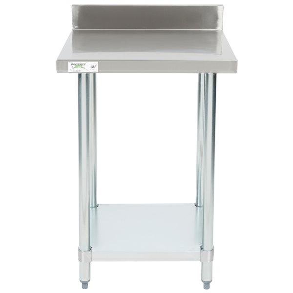 Regency 24 X 24 18 Gauge 304 Stainless Steel Commercial Work Table With 4 Backsplash And Galvanized Undershelf