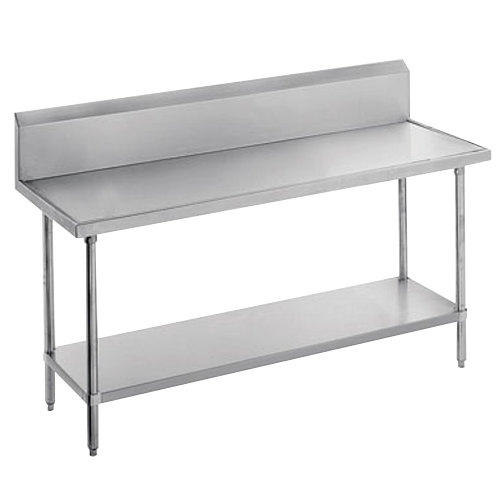 "Advance Tabco VKS-300 Spec Line 30"" x 30"" 14 Gauge Work Table with Stainless Steel Undershelf and 10"" Backsplash"