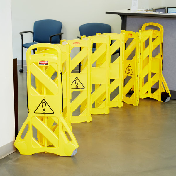 Rubbermaid fg s yel folding portable safety barrier