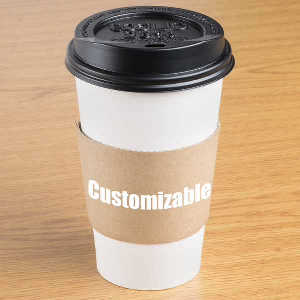 12-24 oz. Natural Kraft Customizable Coffee Cup Sleeve - 1500/Case