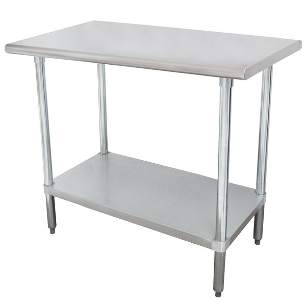 "Advance Tabco SLAG-240-X 24"" x 30"" 16 Gauge Stainless Steel Work Table with Stainless Steel Undershelf"