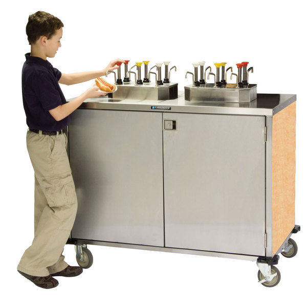 "Lakeside 70210 Stainless Steel EZ Serve 6 Pump Condiment Cart with Hard Rock Maple Finish - 27 1/2"" x 50 1/4"" x 47"""