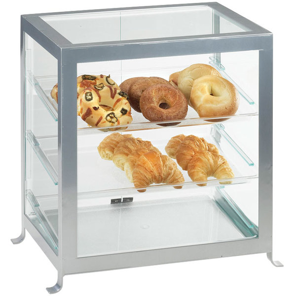 "Cal-Mil 1575-74 Soho Three Tier Silver Display Case with Rear Doors - 21 1/4"" x 15 3/4"" x 20 3/4"""