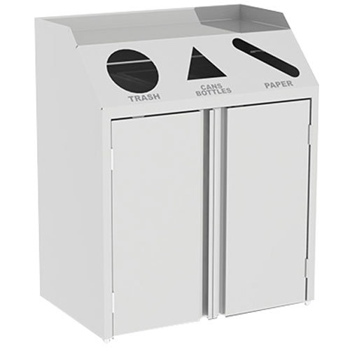"Lakeside 4315 Stainless Steel Refuse / Recycle / Paper Station with Front Access - 37 1/2"" x 23 1/4"" x 45 1/2"""