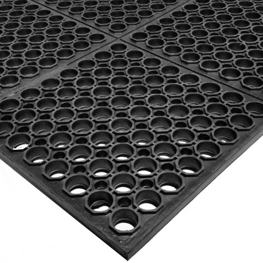 Cactus Mat 3525 C3 VIP TuffDek 3u0027 X 3u0027 Black Heavy Duty Rubber Anti Fatigue  Floor Mat ...