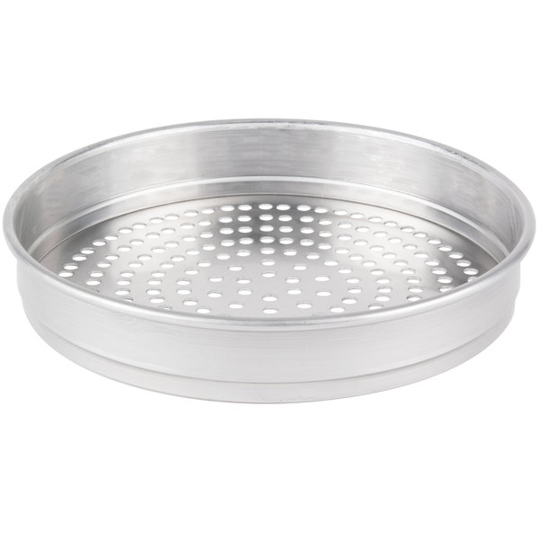 "American Metalcraft SPHA5011 11"" x 2"" Super Perforated Heavy Weight Aluminum Straight Sided Pizza Pan"