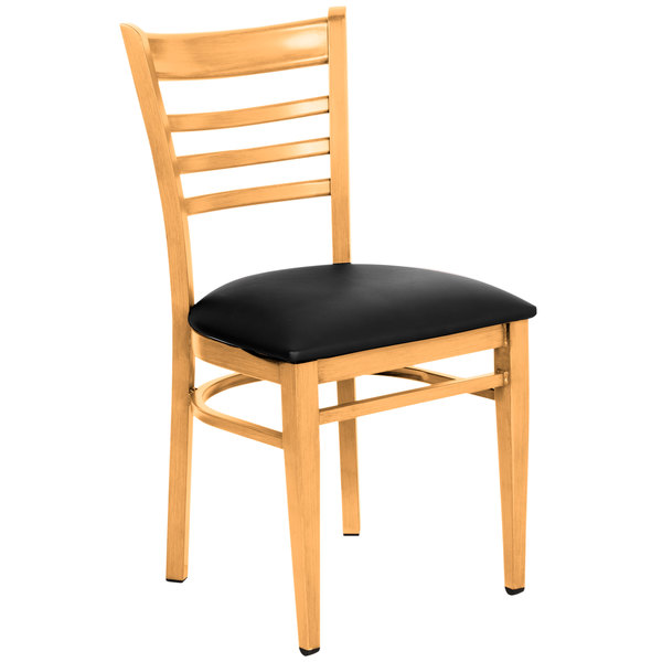 Attirant Lancaster Table U0026 Seating Spartan Series Metal Ladder Back Chair With  Natural Wood Grain Finish And ...