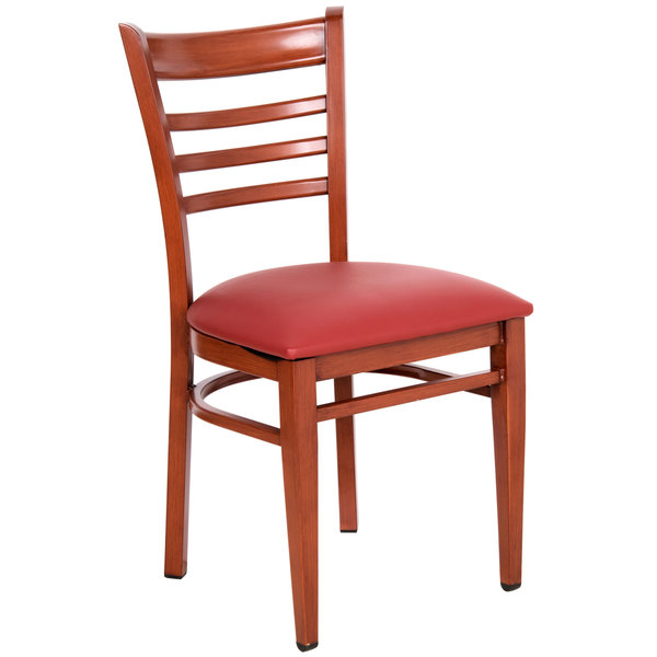 Lancaster Table U0026 Seating Spartan Series Metal Ladder Back Chair With  Mahogany Wood Grain Finish And Red ...