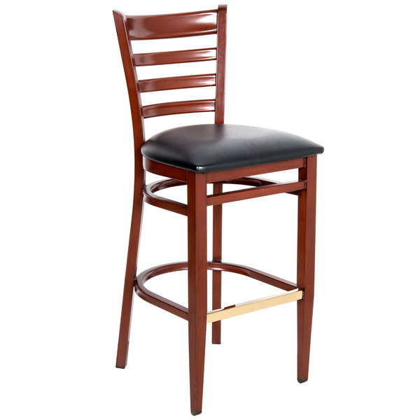 Lancaster Table U0026 Seating Spartan Series Bar Height Metal Ladder Back Chair  With Mahogany Wood Grain ...