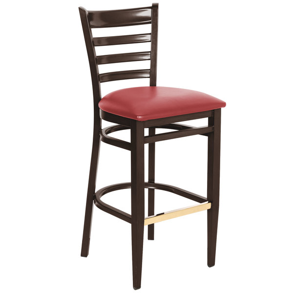 Sensational Lancaster Table Seating Spartan Series Bar Height Metal Ladder Back Chair With Walnut Wood Grain Finish And Red Vinyl Seat Forskolin Free Trial Chair Design Images Forskolin Free Trialorg