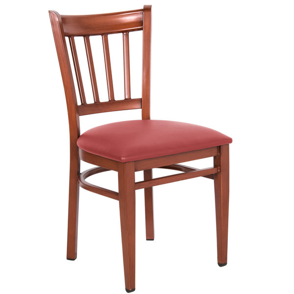 Lancaster Table U0026 Seating Spartan Series Metal Slat Back Chair With  Mahogany Wood Grain Finish And Red ...