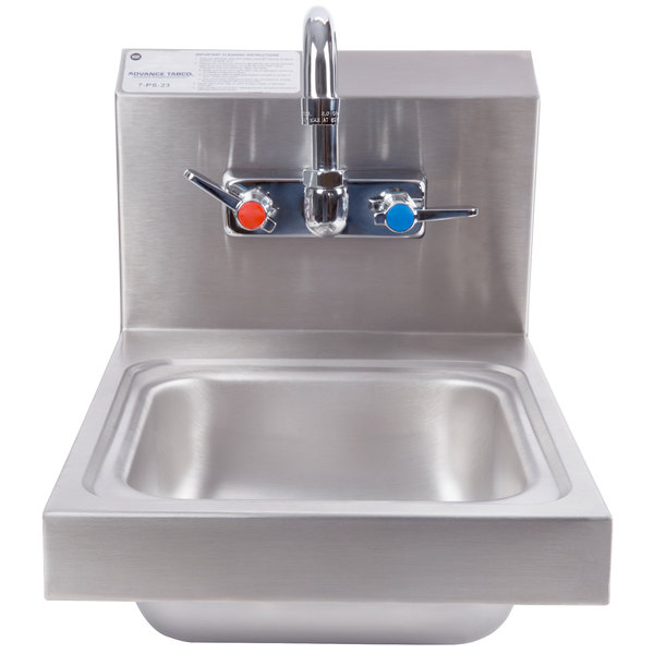 Bathroom Sinks 12 X 16 tabco 7-ps-23 space saving hand sink with splash mount faucet - 12