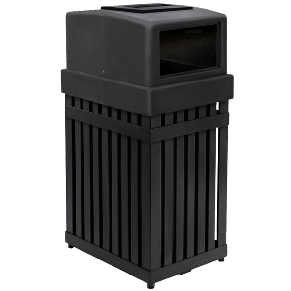 Commercial Zone 72710099 Archtec Parkview 25 Gallon Black Trash Recycling Receptacle With