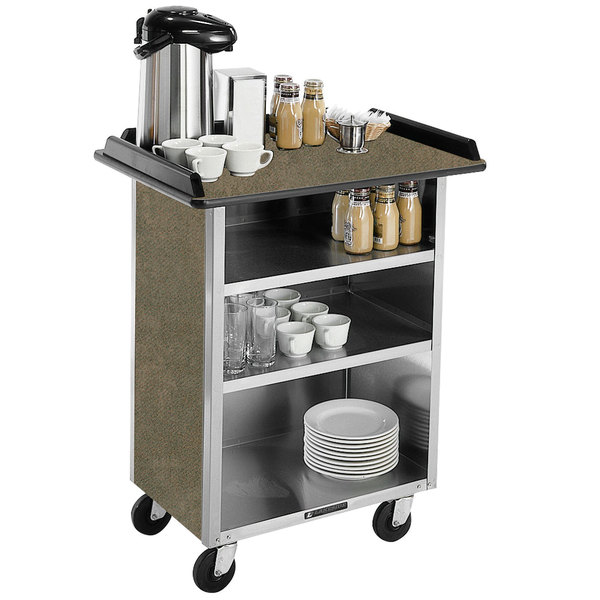 "Lakeside 681 Stainless Steel Beverage Service Cart with 3 Shelves and Beige Suede Laminate Finish - 58 3/8"" x 24"" x 38 1/4"""