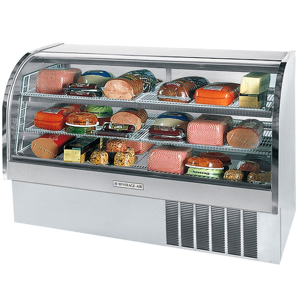 "Beverage Air CDR6/1-S-20 Stainless Steel Finish Curved Glass Refrigerated Bakery Display Case 73"" - 27.6 Cu. Ft."