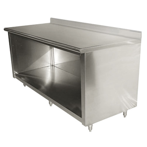 "Advance Tabco EK-SS-367 36"" x 84"" 14 Gauge Open Front Cabinet Base Work Table with 5"" Backsplash"