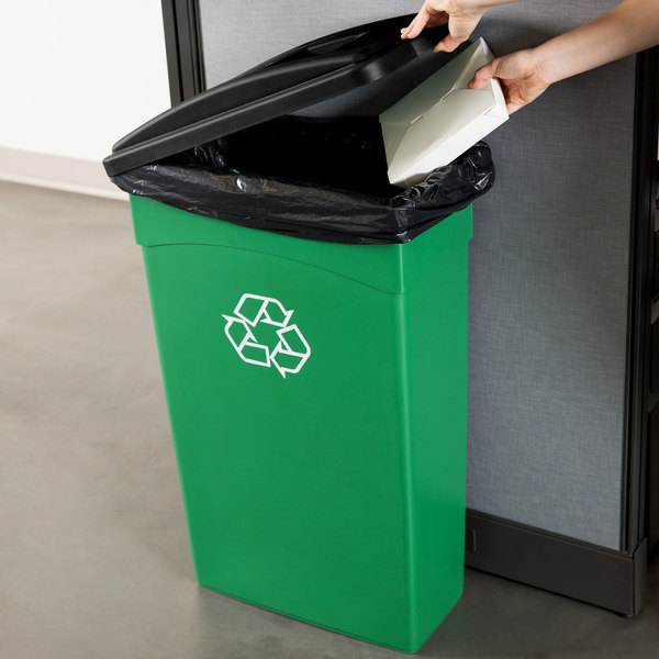 continental 23 gallon green wall hugger slim recycling trash can and lid set. Black Bedroom Furniture Sets. Home Design Ideas