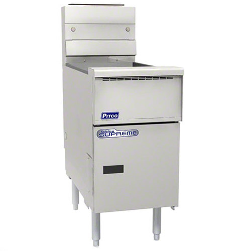 Pitco SSH55T-SSTC Solofilter Solstice Supreme Liquid Propane 20-25 lb. Split PotFloor Fryer with Solid State Thermostatic Controls - 80,000 BTU