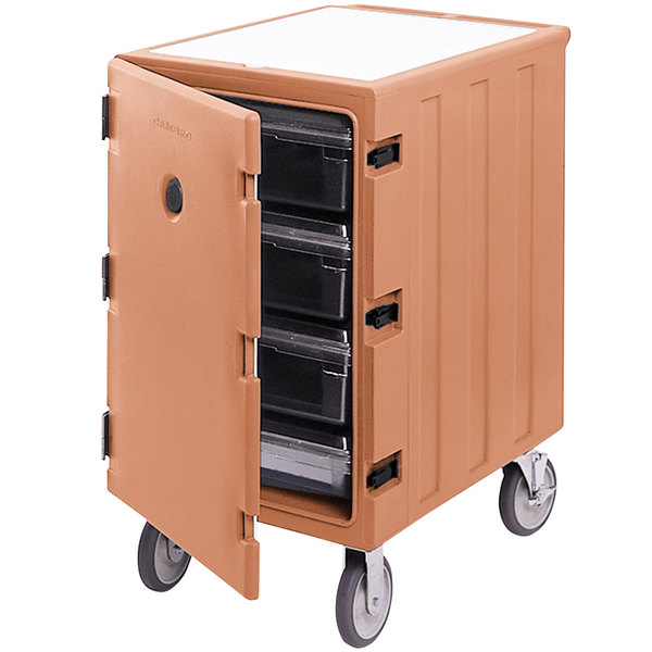 "Cambro 1826LBC157 Camcart Coffee Beige Single Compartment Mobile Cart for 18"" x 26"" Food Storage Boxes"