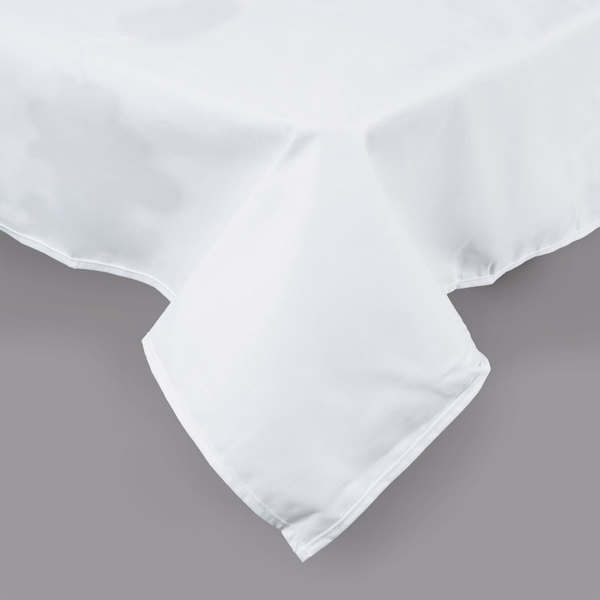 "White Hemmed Poly Cotton Tablecloth - 54"" x 110"""