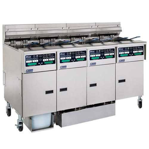 Pitco SELV14C2/14T2FDA Solstice 120 lb. Reduced Oil Volume Electric Fryer System with 2 Split Pot Units, 2 Full Pot Units, and Automatic Top Off - 240V, 1 Phase, 68 kW