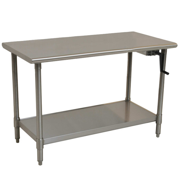 "Eagle Group T2460SE-HA Right Crank 14 Gauge Type 304 Stainless Steel Adjustable Height ADA / Ergonomic Work Table with Undershelf - 24"" x 60"""