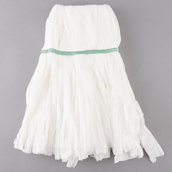white microfiber mop head with green stripe