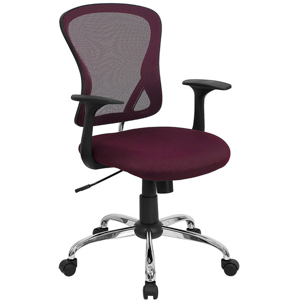 flash furniture midback burgundy mesh office chair with arms padded seat