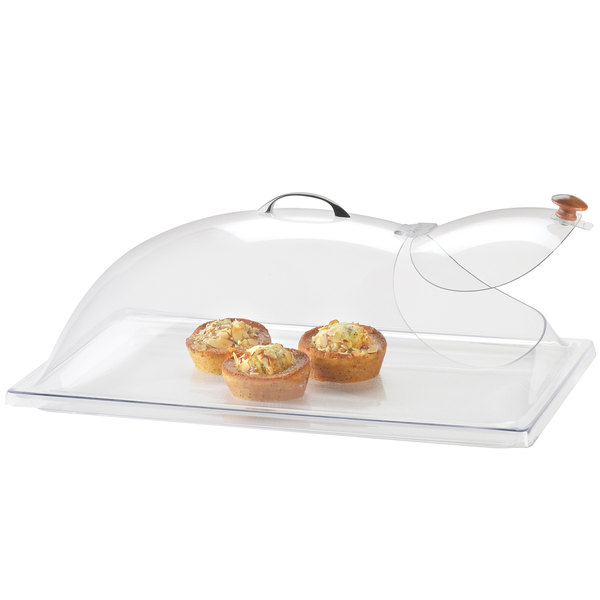 "Cal-Mil 339-12 Classic Clear Dome Display Cover with Single End Opening and Door - 12"" x 20"" x 7 1/2"""
