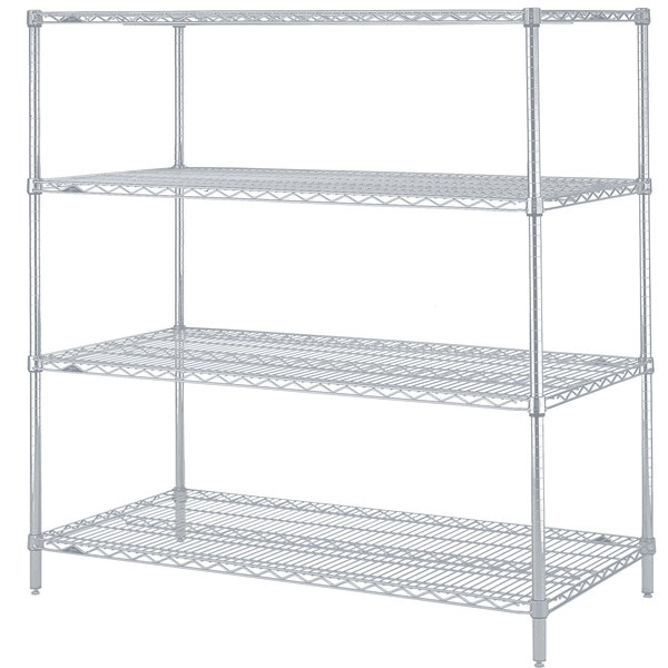 "Metro N556BR Super Erecta Brite Adjustable Wire Stationary Starter Shelving Unit - 24"" x 48"" x 63"""