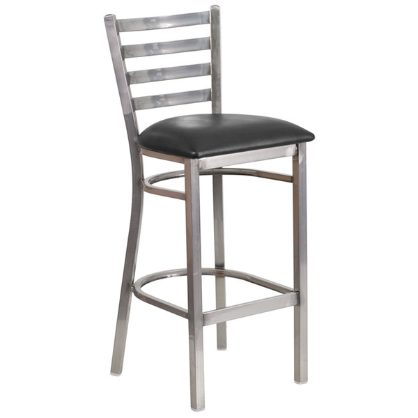 flash furniture clearcoated ladder back metal restaurant barstool with black - Clear Bar Stools
