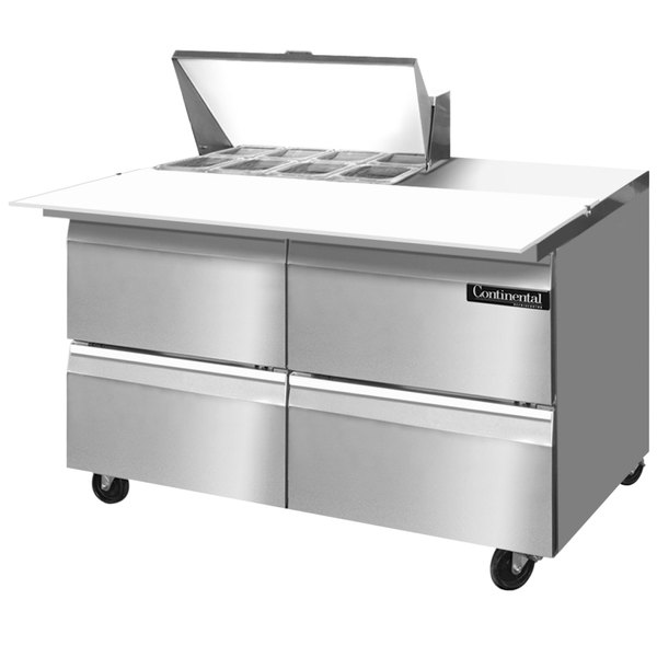 "Continental Refrigerator SW48-8C-D 48"" 4 Drawer Cutting Top Refrigerated Sandwich Prep Table"