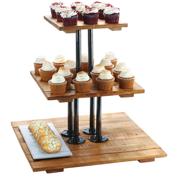 Cal Mil 3428 99 Madera Reclaimed Wood 3 Tier Pastry